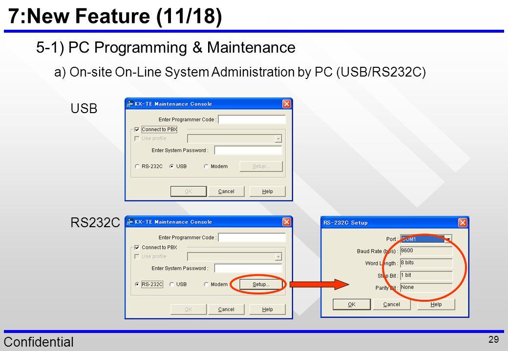 7:New Feature (11/18) 5-1) PC Programming & Maintenance