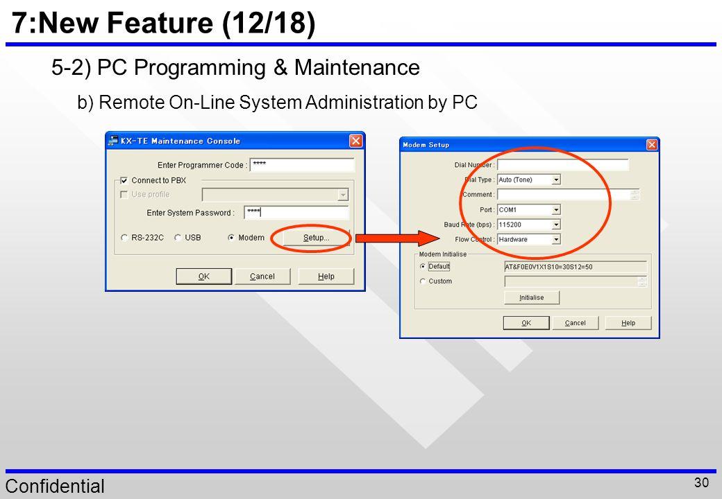 7:New Feature (12/18) 5-2) PC Programming & Maintenance