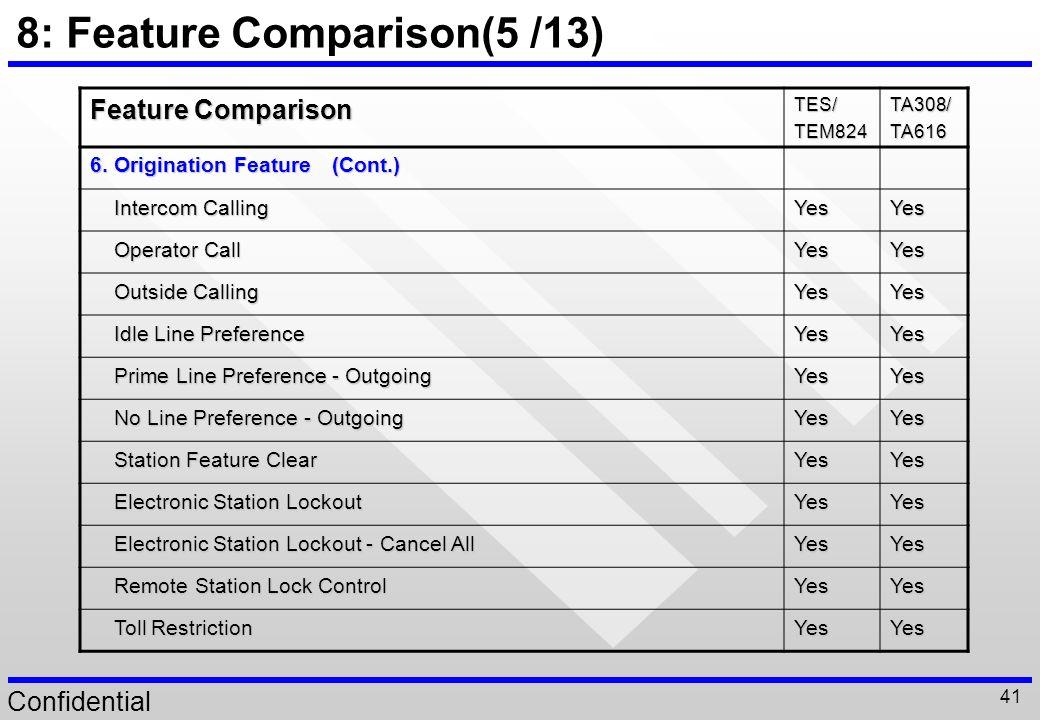 8: Feature Comparison(5 /13)