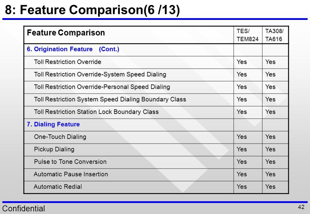 8: Feature Comparison(6 /13)