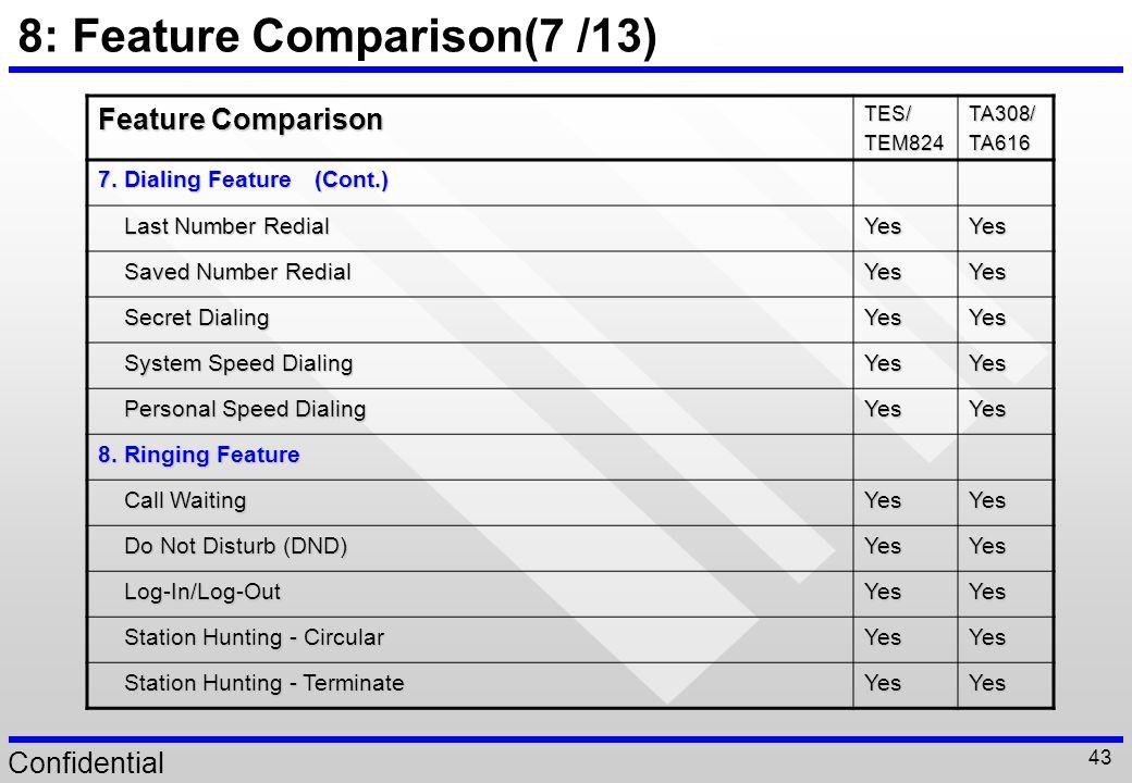 8: Feature Comparison(7 /13)