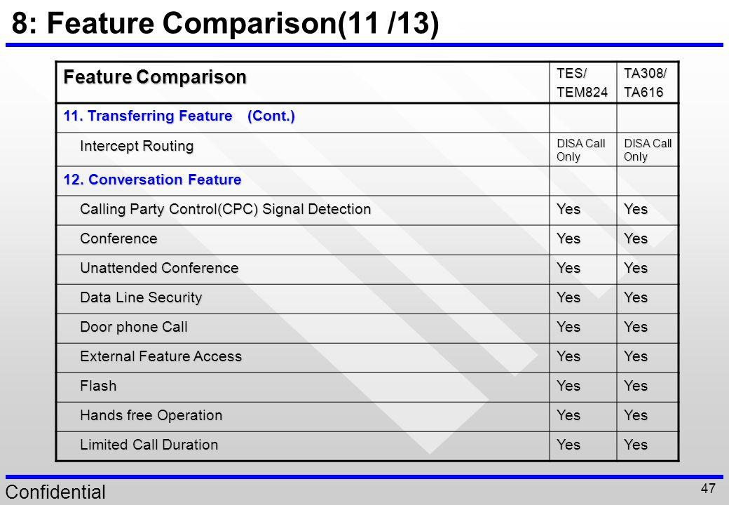 8: Feature Comparison(11 /13)
