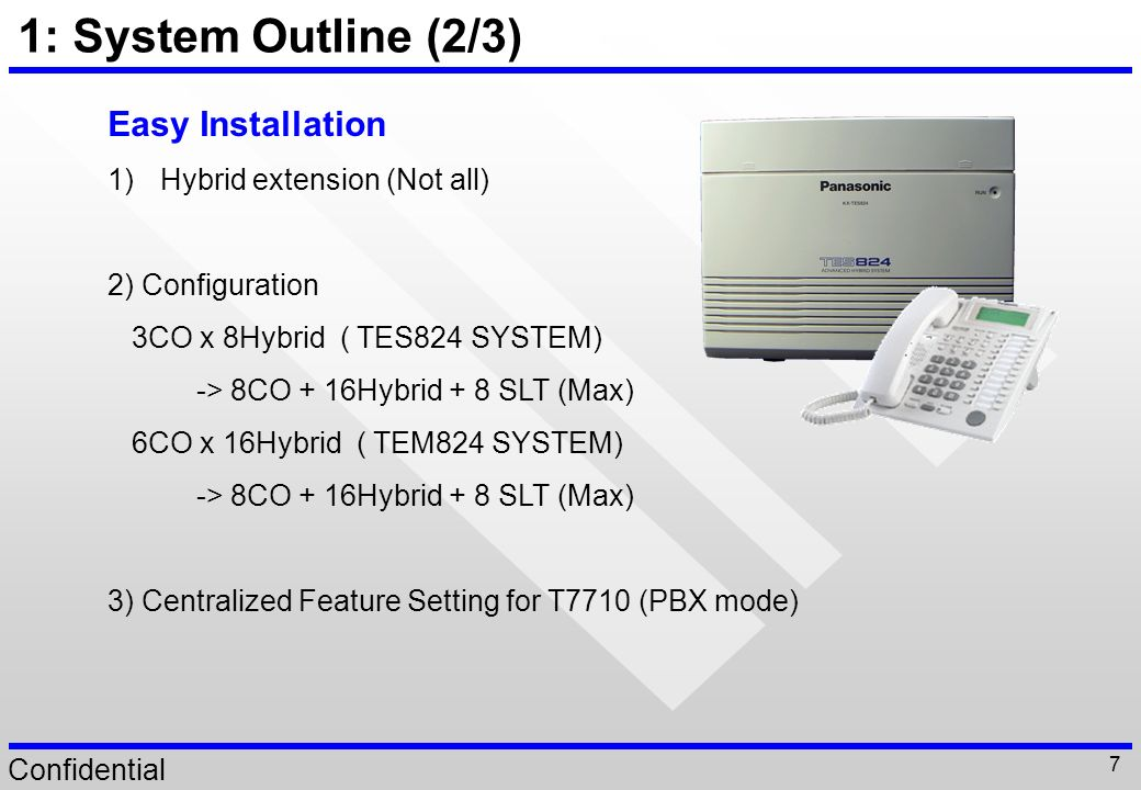 1: System Outline (2/3) Easy Installation Hybrid extension (Not all)