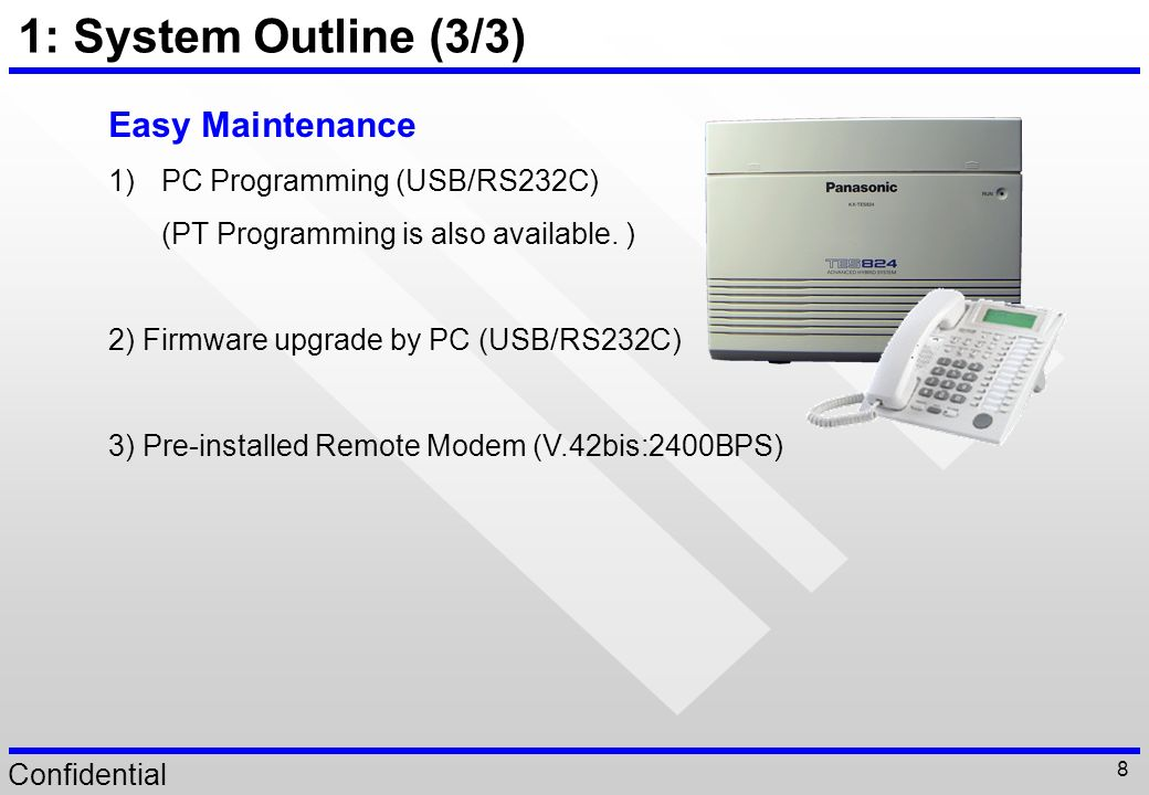 1: System Outline (3/3) Easy Maintenance PC Programming (USB/RS232C)