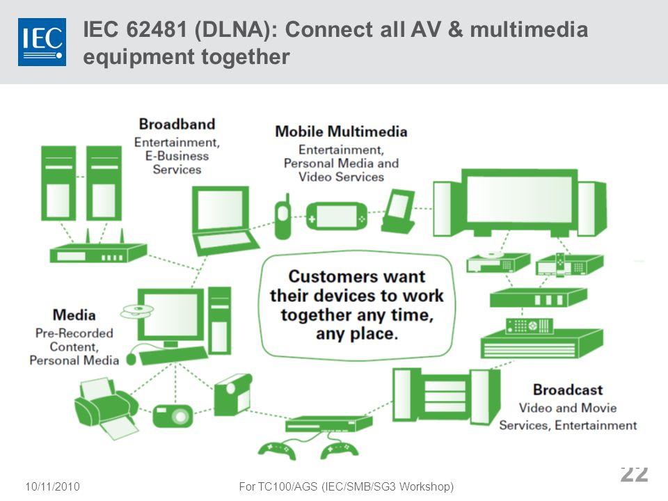IEC (DLNA): Connect all AV & multimedia equipment together