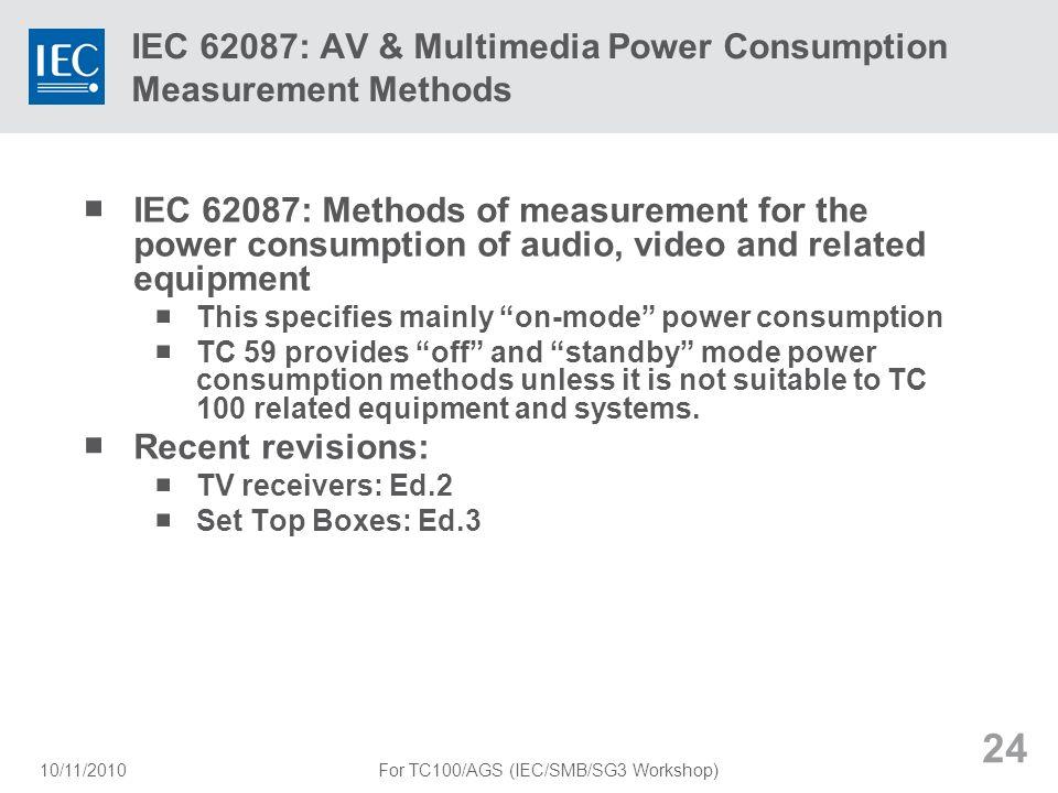 IEC 62087: AV & Multimedia Power Consumption Measurement Methods