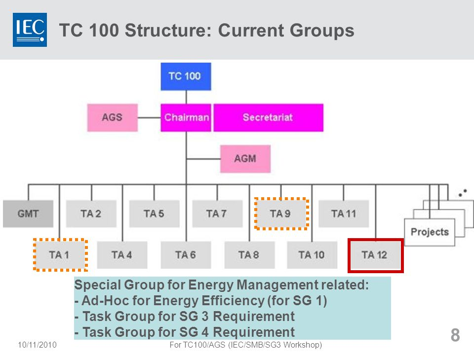 TC 100 Structure: Current Groups