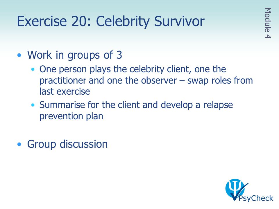 Exercise 20: Celebrity Survivor