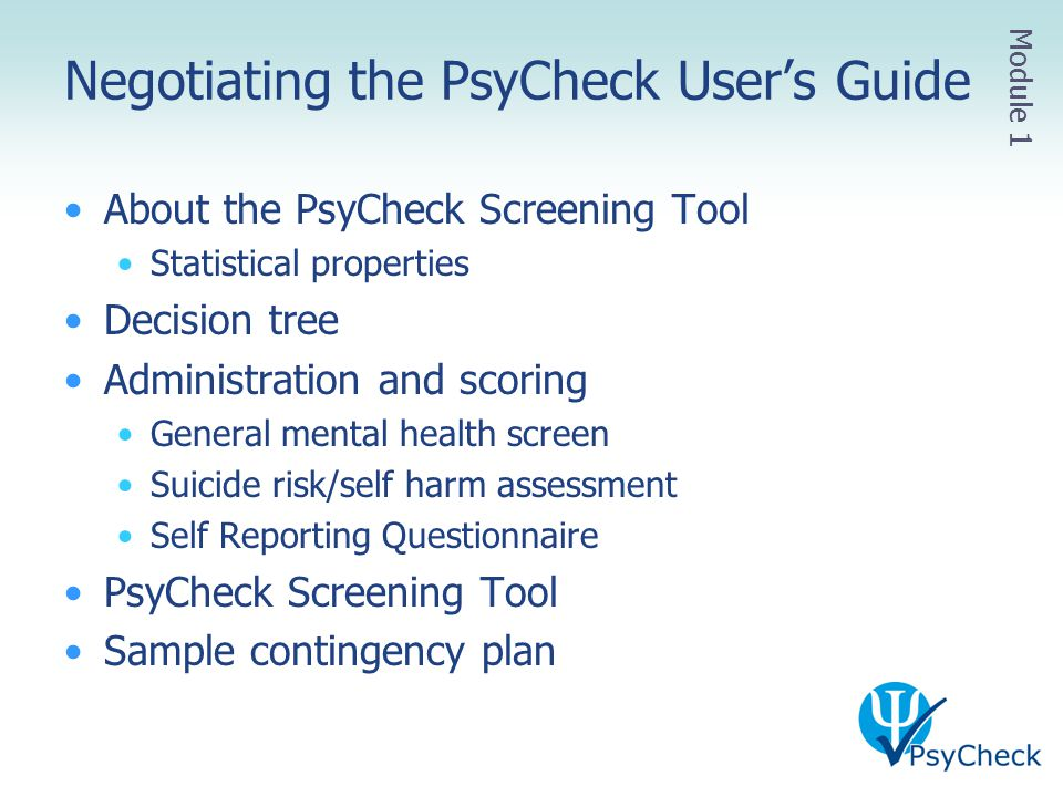 Negotiating the PsyCheck User's Guide