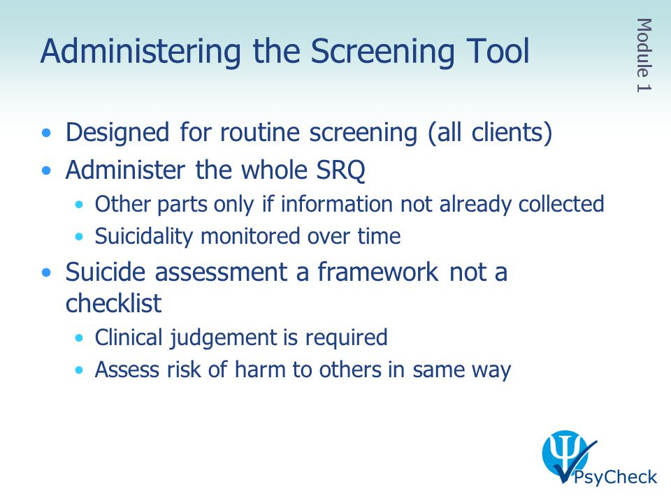 Administering the Screening Tool