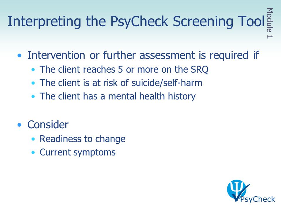 Interpreting the PsyCheck Screening Tool