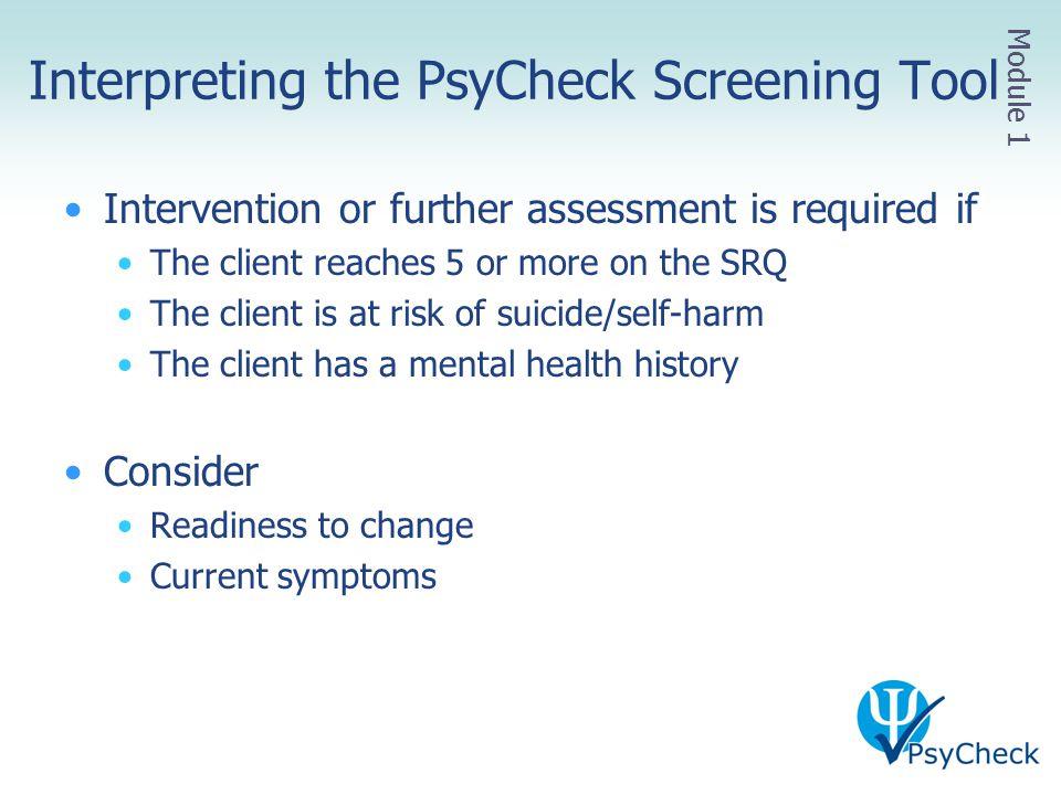 Interpreting the PsyCheck Screening Tool