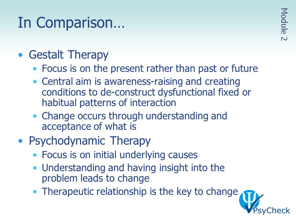 In Comparison… Gestalt Therapy Psychodynamic Therapy