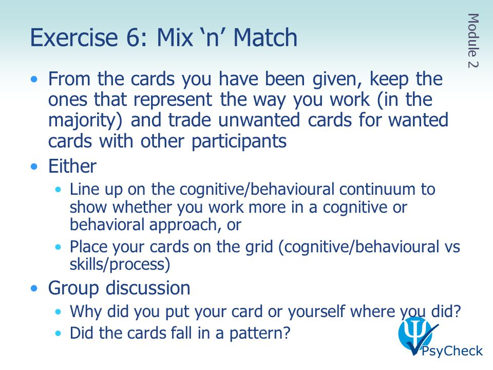Exercise 6: Mix 'n' Match