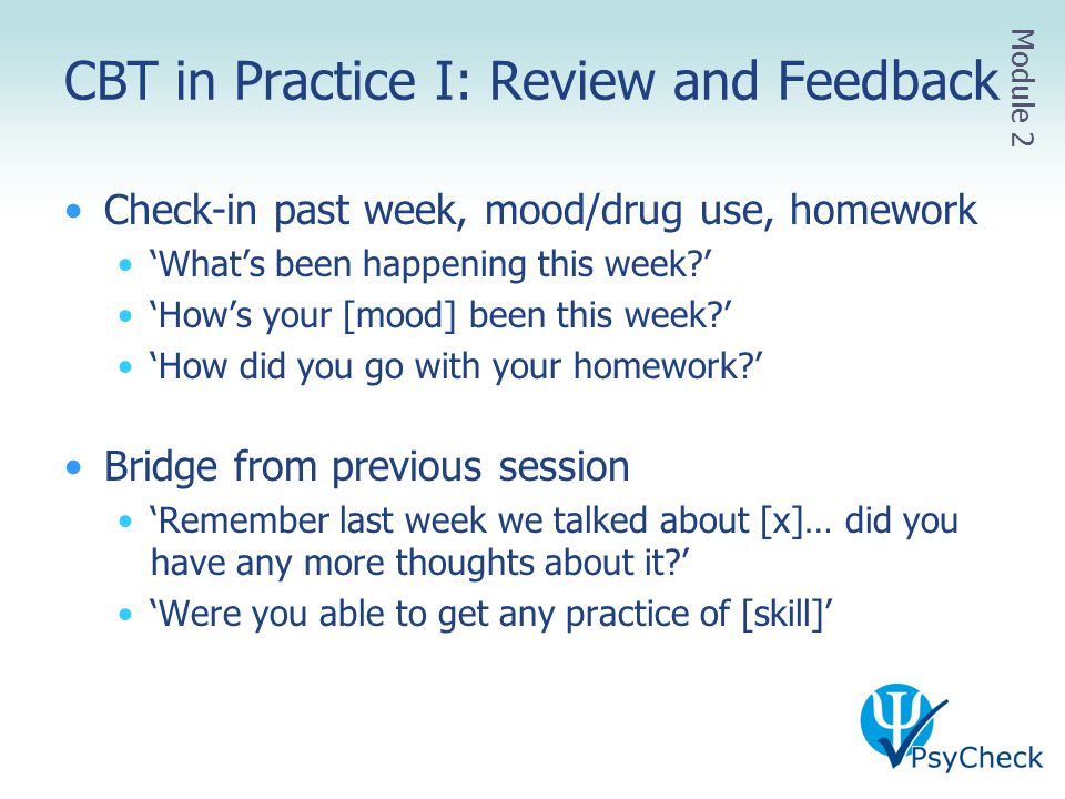 CBT in Practice I: Review and Feedback