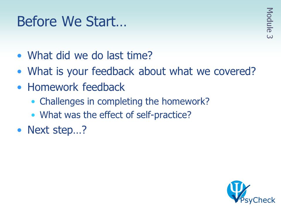 Before We Start… What did we do last time