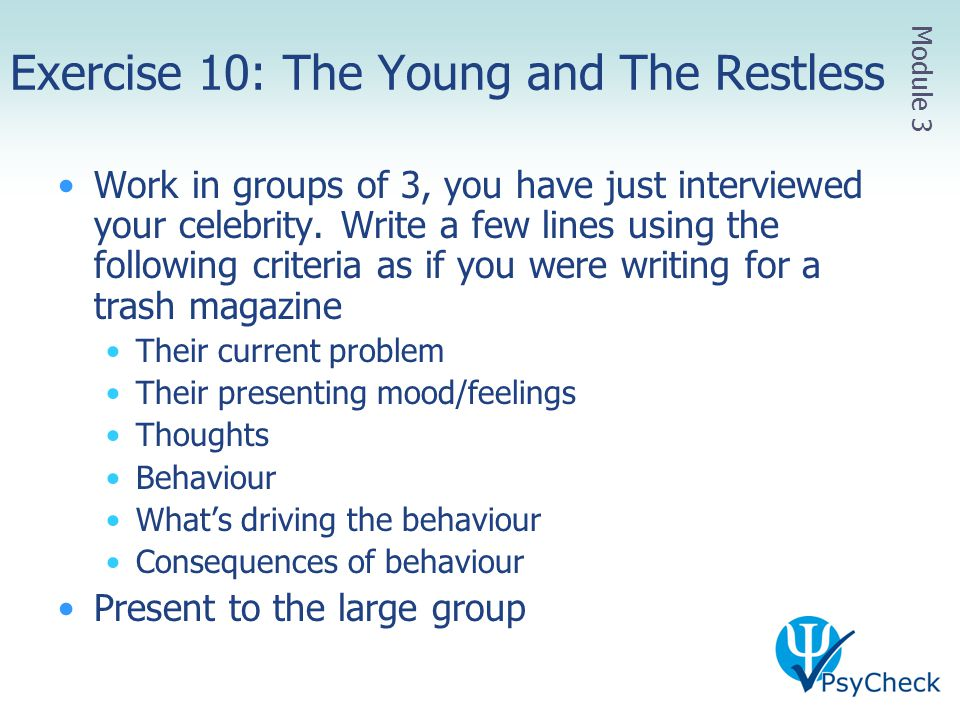 Exercise 10: The Young and The Restless