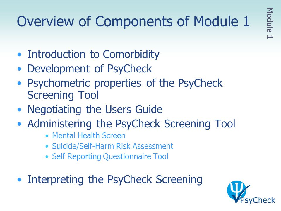 Overview of Components of Module 1