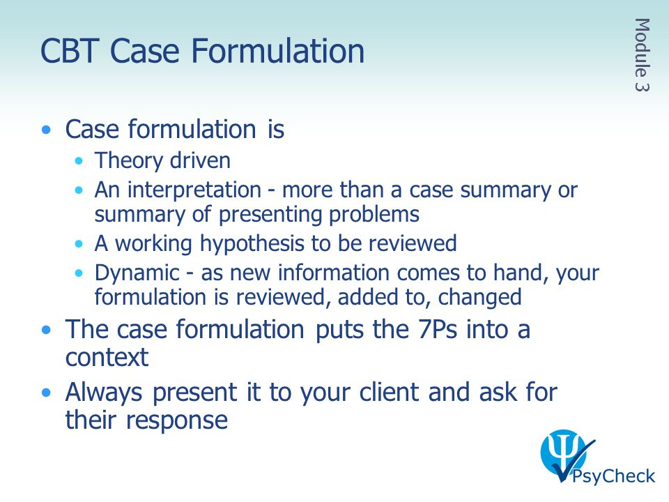 CBT Case Formulation Case formulation is