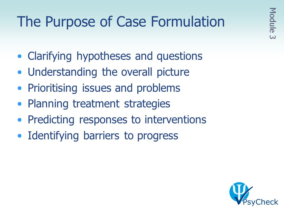 The Purpose of Case Formulation