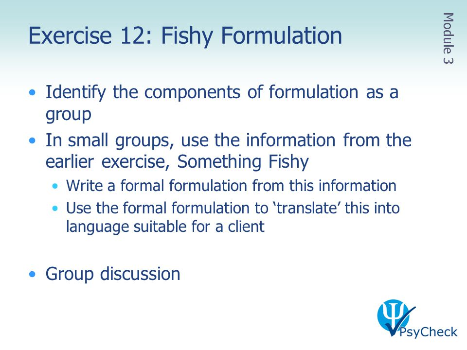 Exercise 12: Fishy Formulation