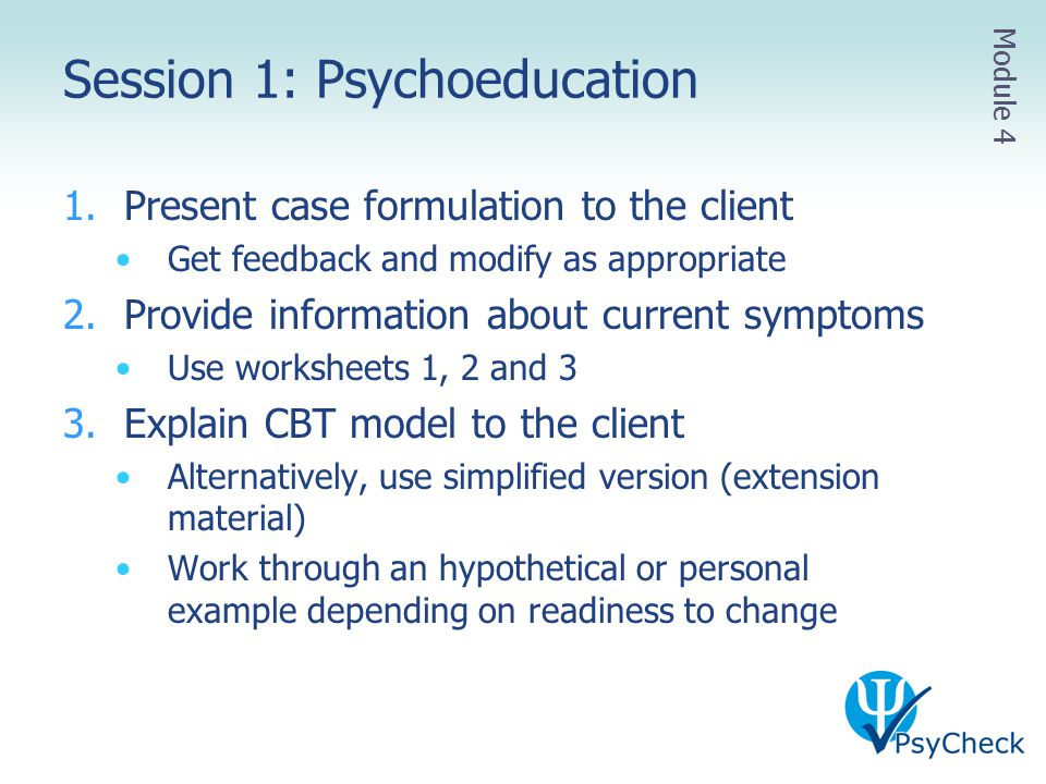 Session 1: Psychoeducation