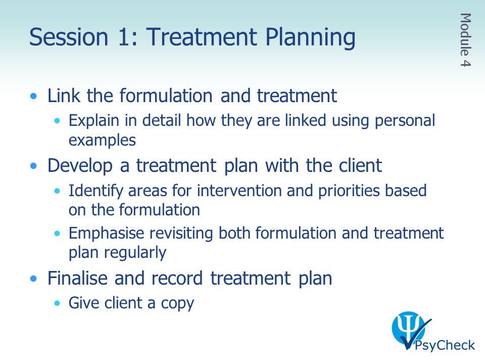 Session 1: Treatment Planning