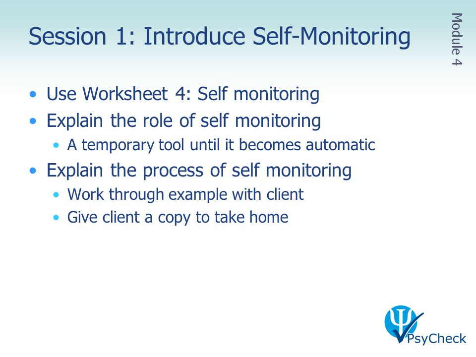 Session 1: Introduce Self-Monitoring