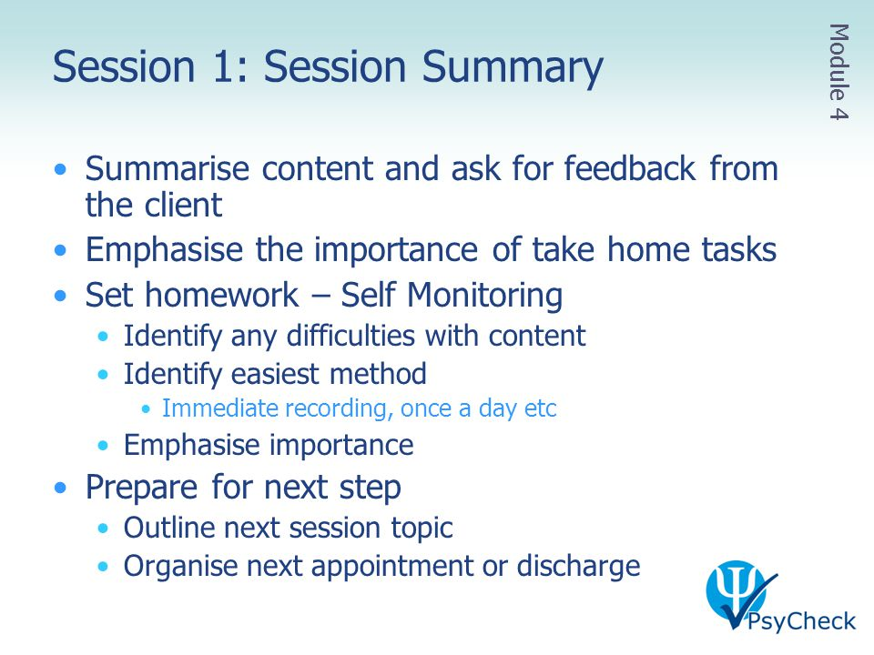 Session 1: Session Summary