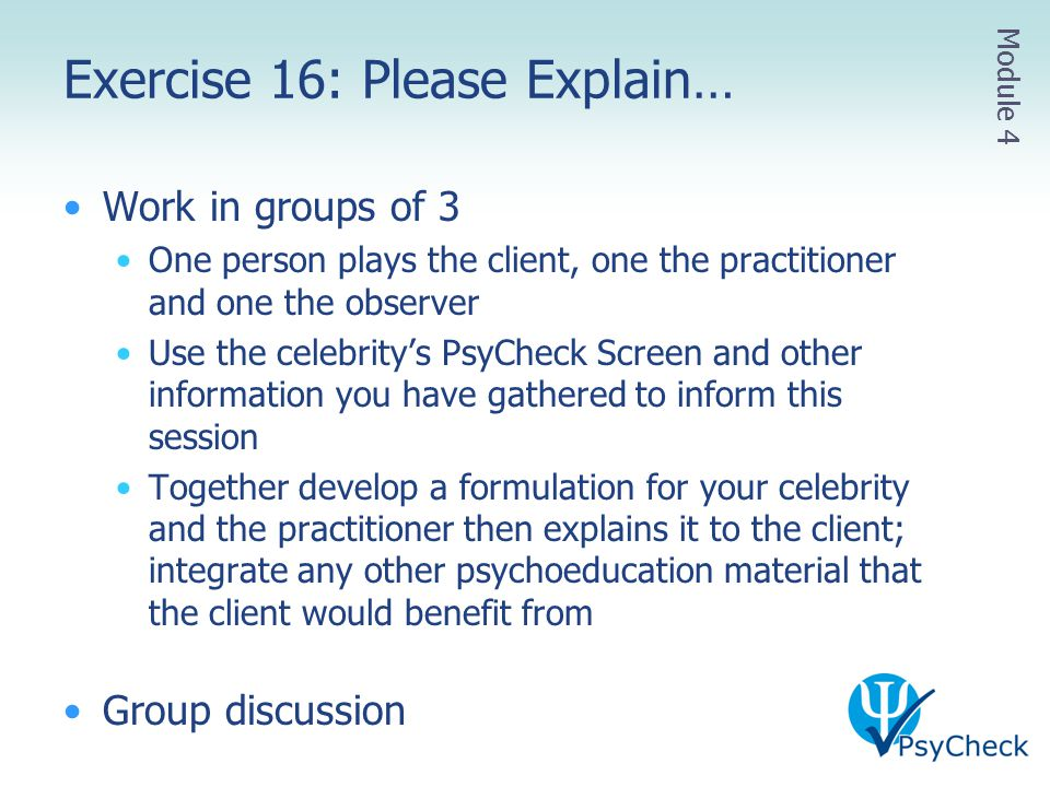 Exercise 16: Please Explain…