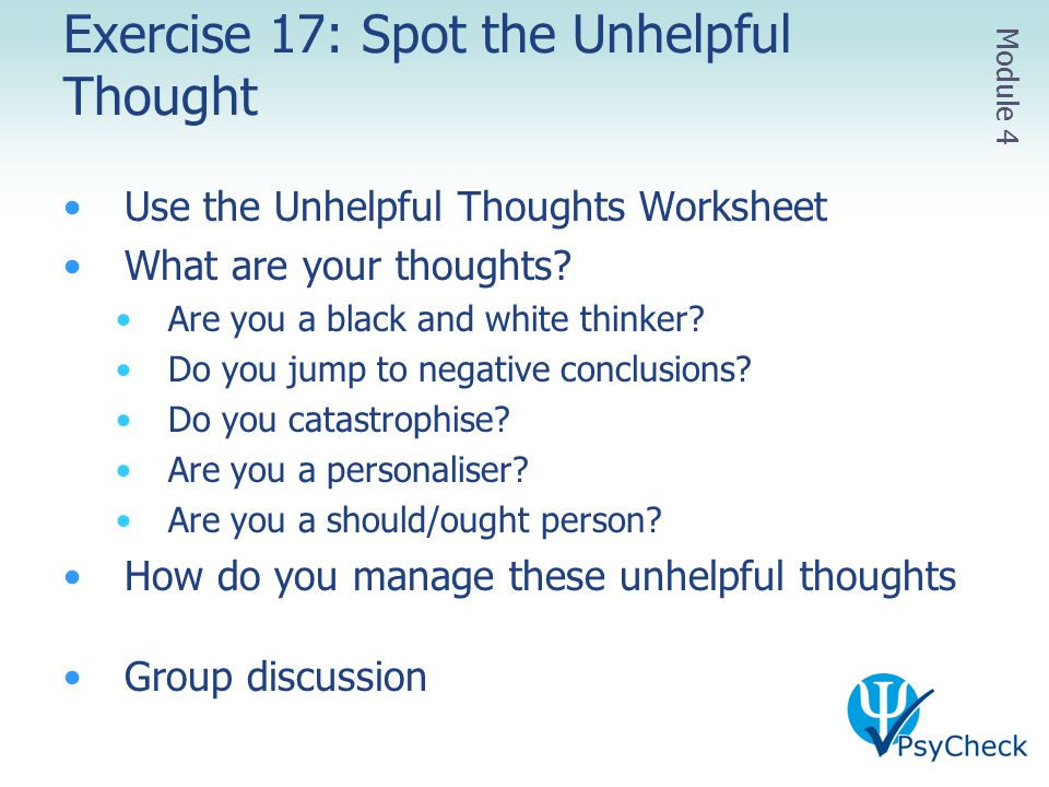 Exercise 17: Spot the Unhelpful Thought