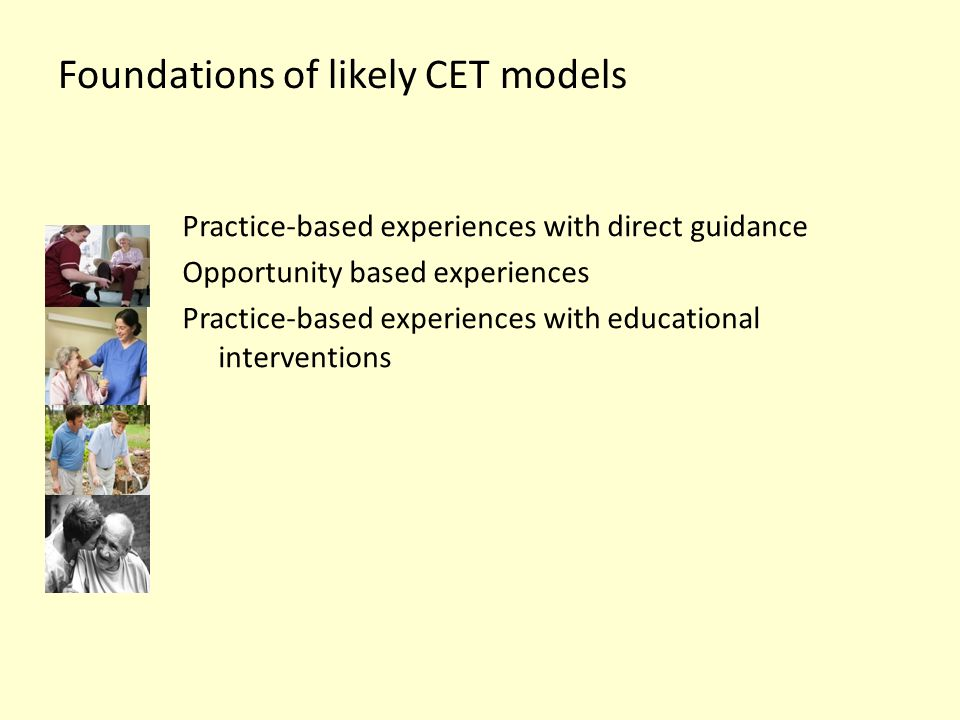 Foundations of likely CET models