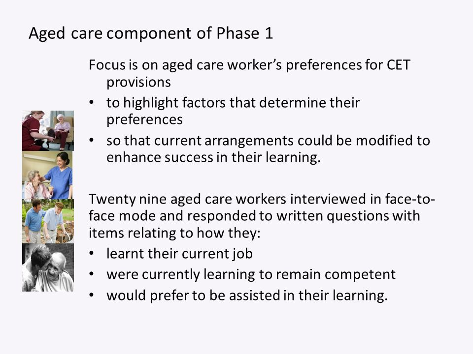 Aged care component of Phase 1