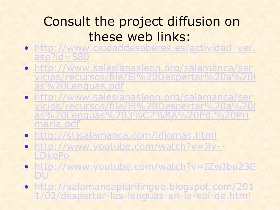 Consult the project diffusion on these web links: