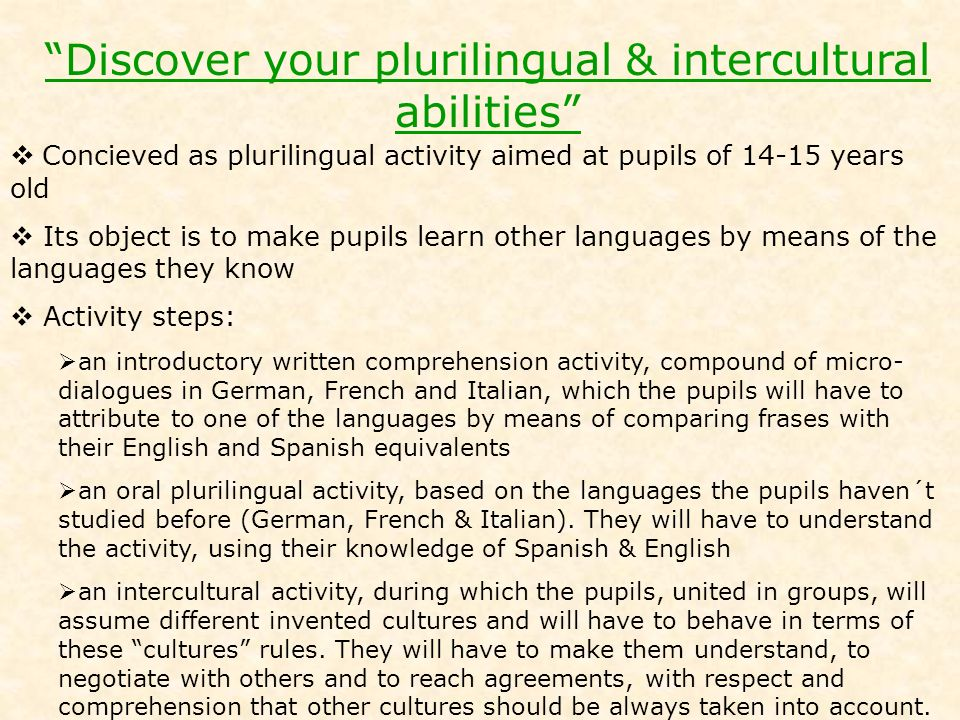 Discover your plurilingual & intercultural abilities