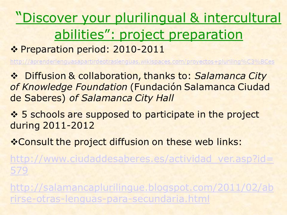 Discover your plurilingual & intercultural abilities : project preparation
