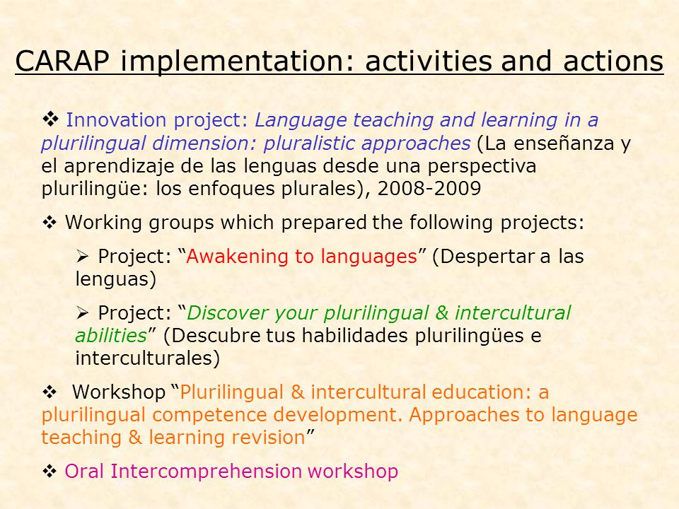 CARAP implementation: activities and actions