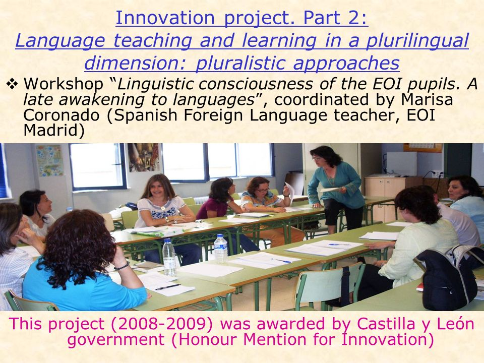 Innovation project. Part 2: Language teaching and learning in a plurilingual dimension: pluralistic approaches
