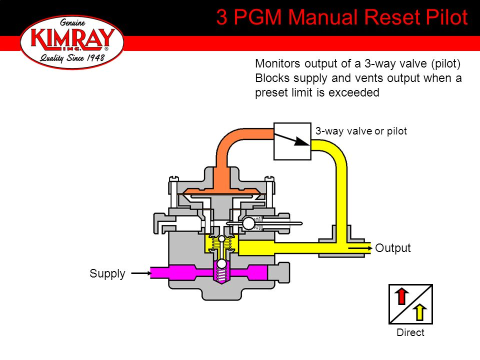 3 PGM Manual Reset Pilot Monitors output of a 3-way valve (pilot)