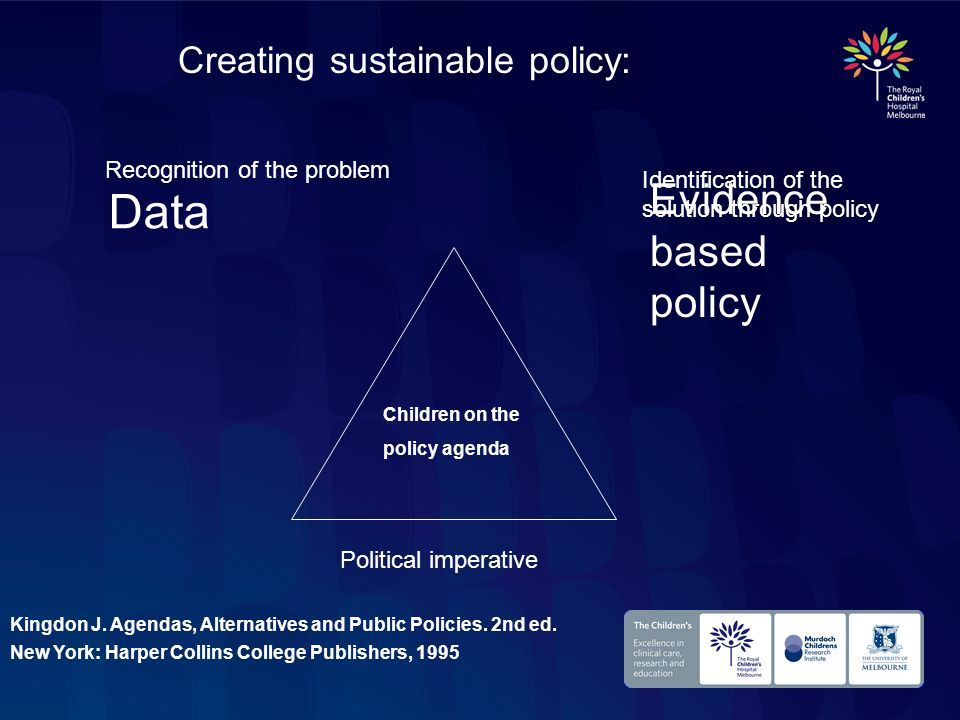 Data Evidence based policy Creating sustainable policy: