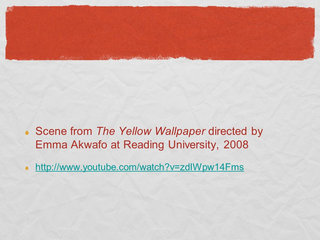 Scene from The Yellow Wallpaper directed by Emma Akwafo at Reading University, 2008