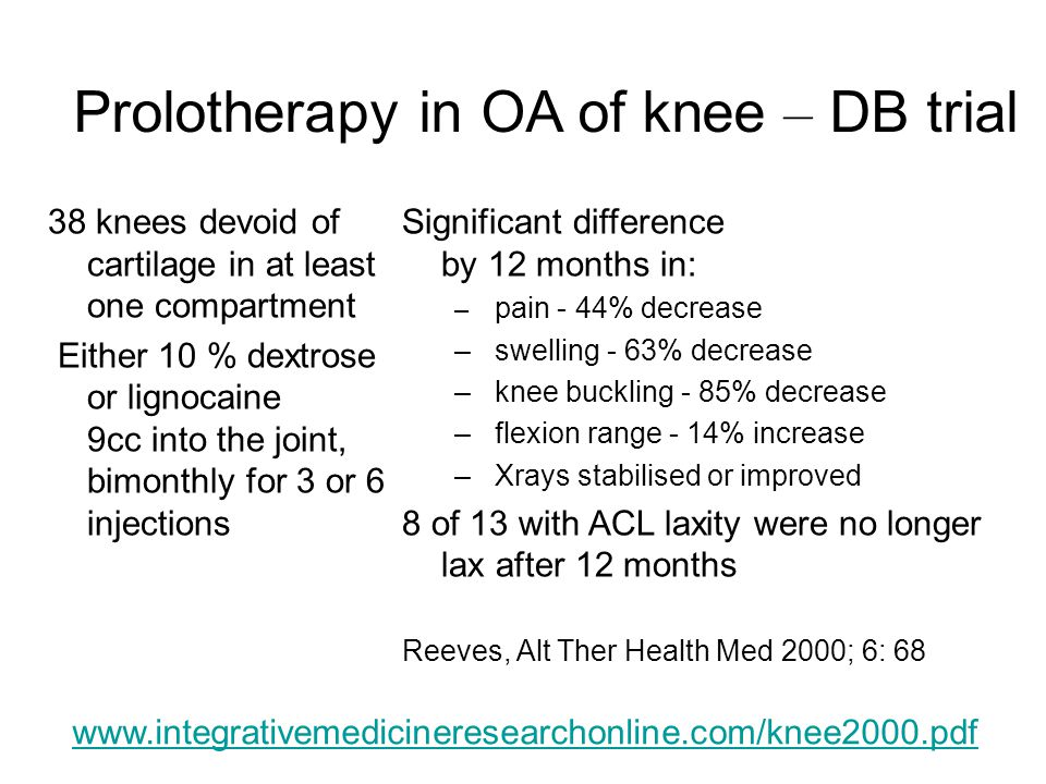 Prolotherapy in OA of knee – DB trial