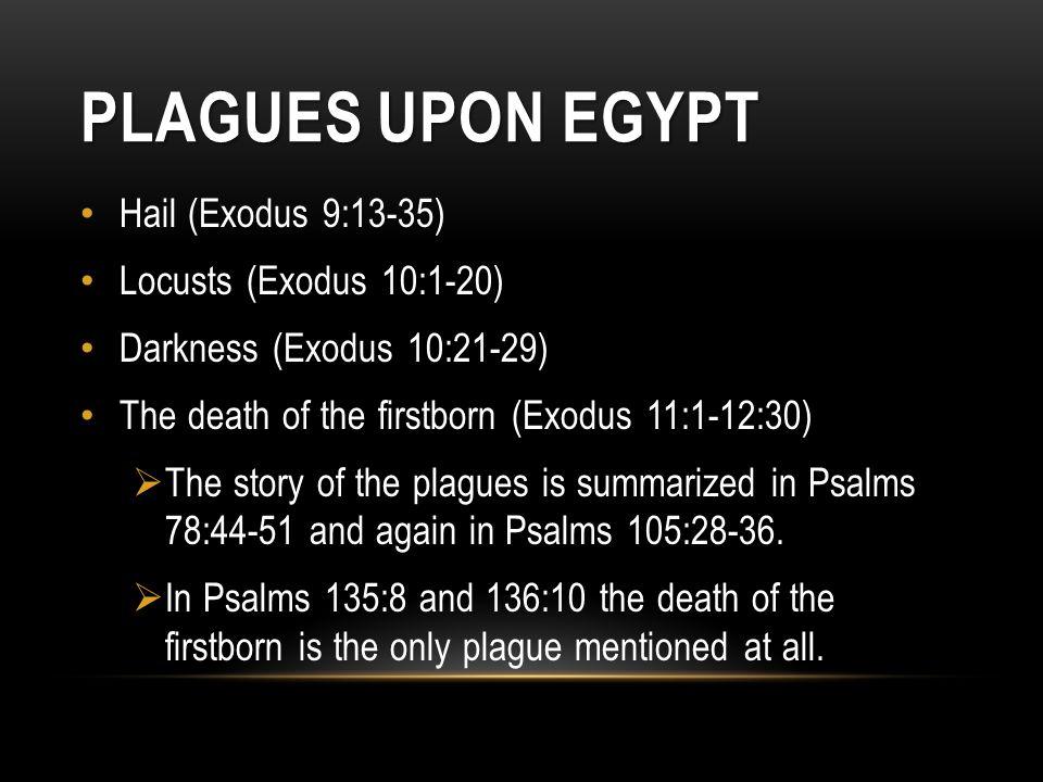 Plagues Upon Egypt Hail (Exodus 9:13-35) Locusts (Exodus 10:1-20)