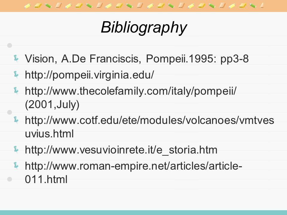 Bibliography Vision, A.De Franciscis, Pompeii.1995: pp3-8