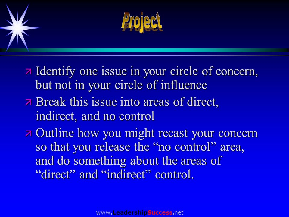 Project Identify one issue in your circle of concern, but not in your circle of influence.
