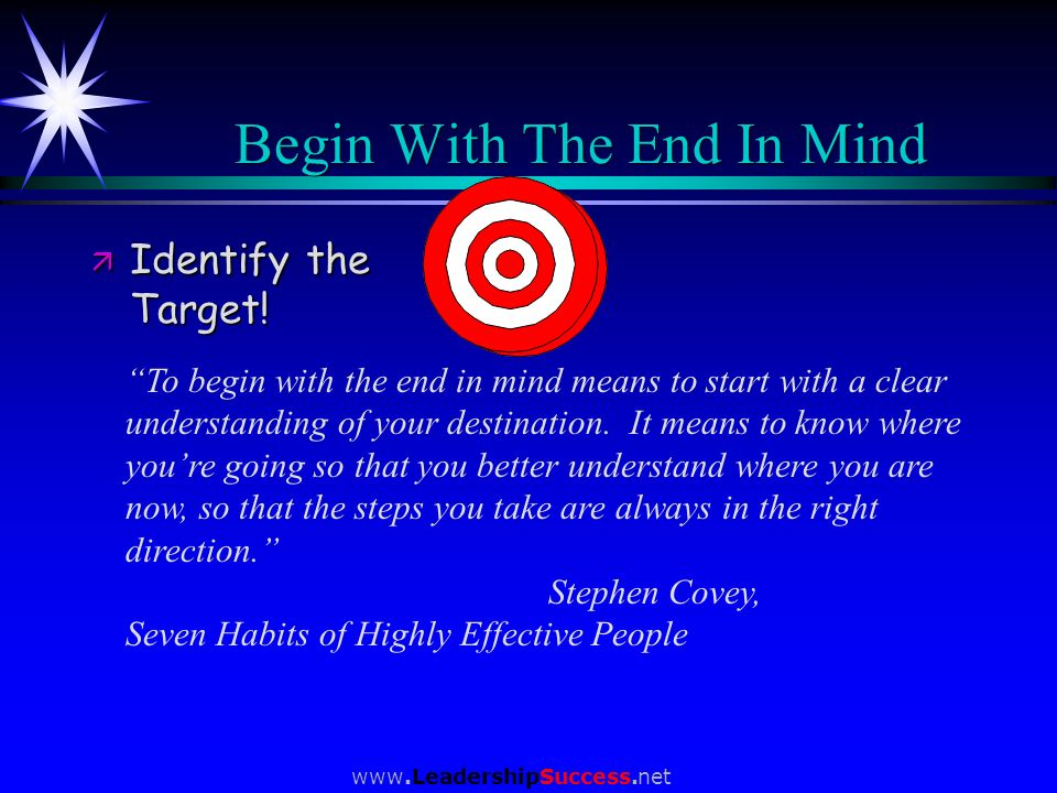 Begin With The End In Mind