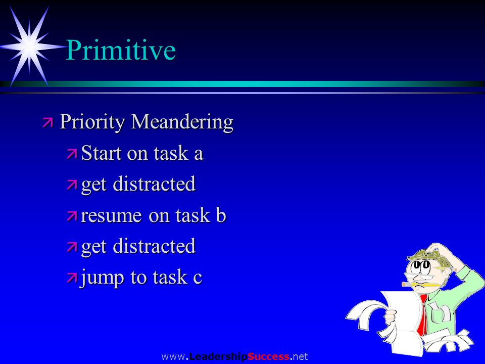 Primitive Priority Meandering Start on task a get distracted