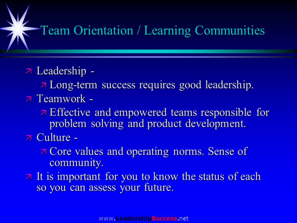 Team Orientation / Learning Communities