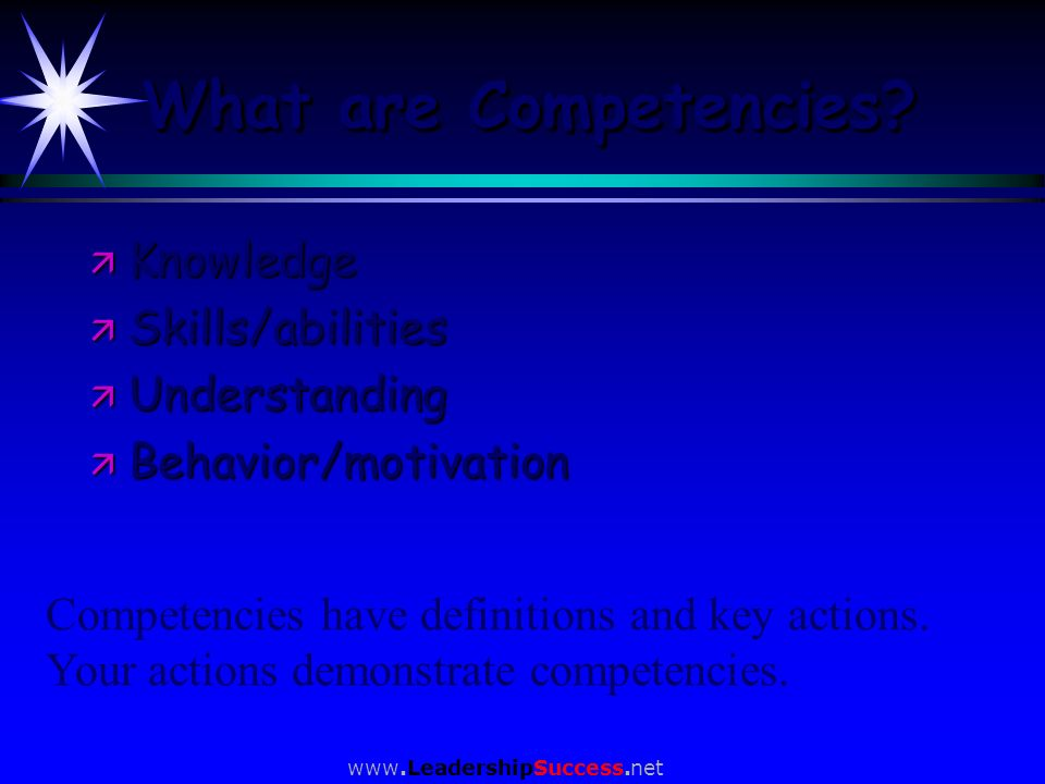 What are Competencies Knowledge Skills/abilities Understanding