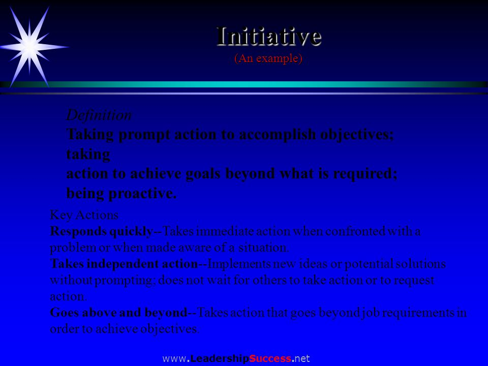 Initiative (An example)